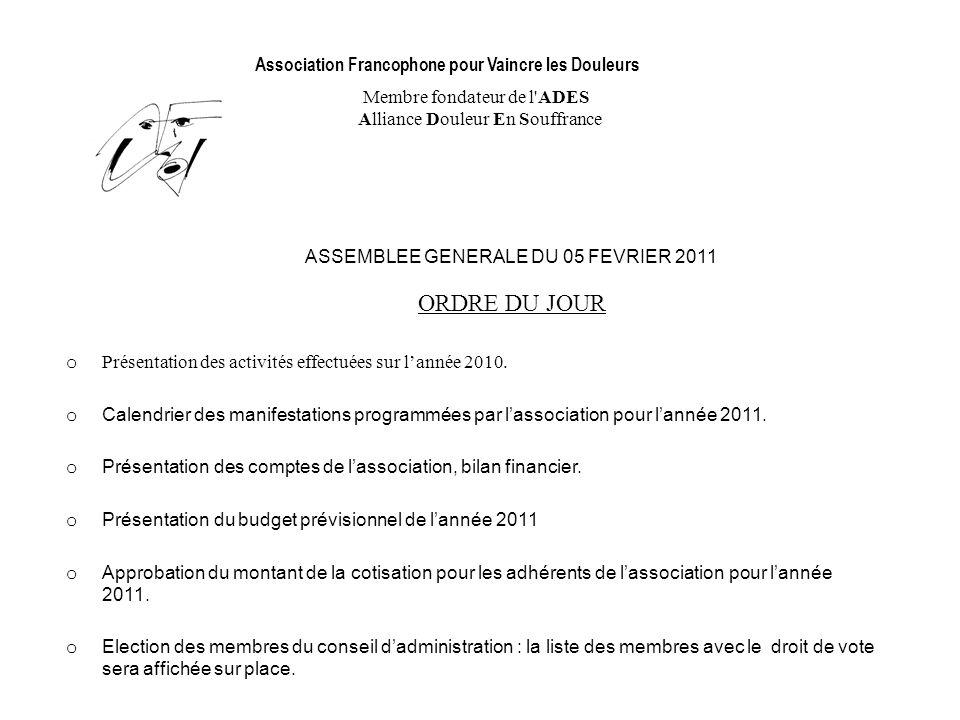 Association Francophone pour Vaincre les Douleurs Membre fondateur de l'ADES Alliance Douleur En Souffrance ASSEMBLEE GENERALE DU 05 FEVRIER 2011 ORDR