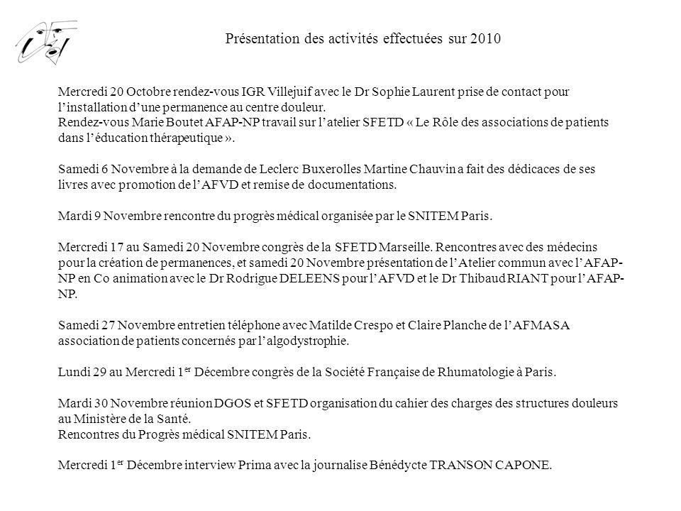 Présentation des activités effectuées sur 2010 Jeudi 2 Décembre intervention à la conférence de presse organisée par la SFETD « La douleur Chronique Maltraitée ».