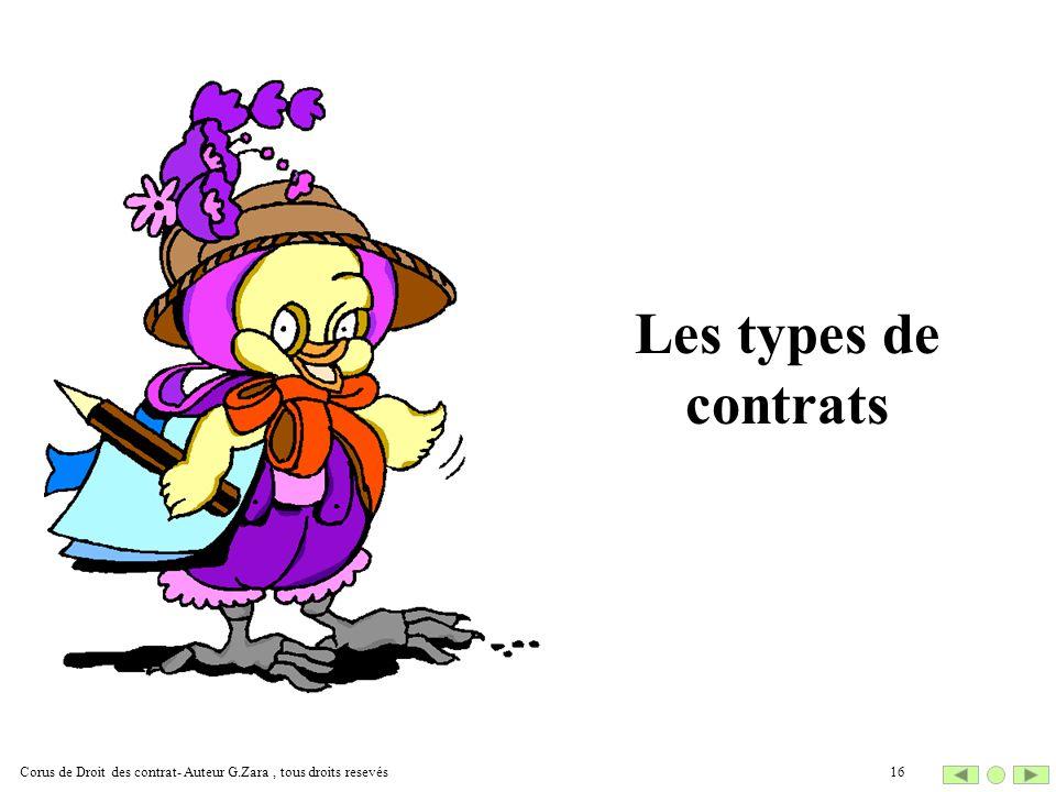Les types de contrats 16Corus de Droit des contrat- Auteur G.Zara, tous droits resevés