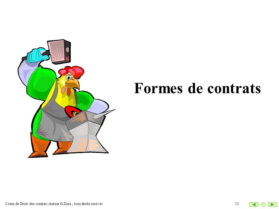 Formes de contrats 21Corus de Droit des contrat- Auteur G.Zara, tous droits resevés