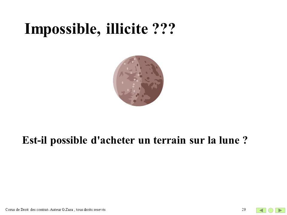 Impossible, illicite ??? Est-il possible d'acheter un terrain sur la lune ? 29Corus de Droit des contrat- Auteur G.Zara, tous droits resevés