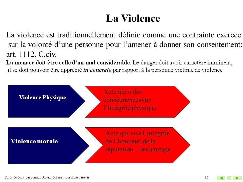Corus de Droit des contrat- Auteur G.Zara, tous droits resevés36 La Violence Violence Physique Violence morale Acte qui a des conséquences sur lintégr