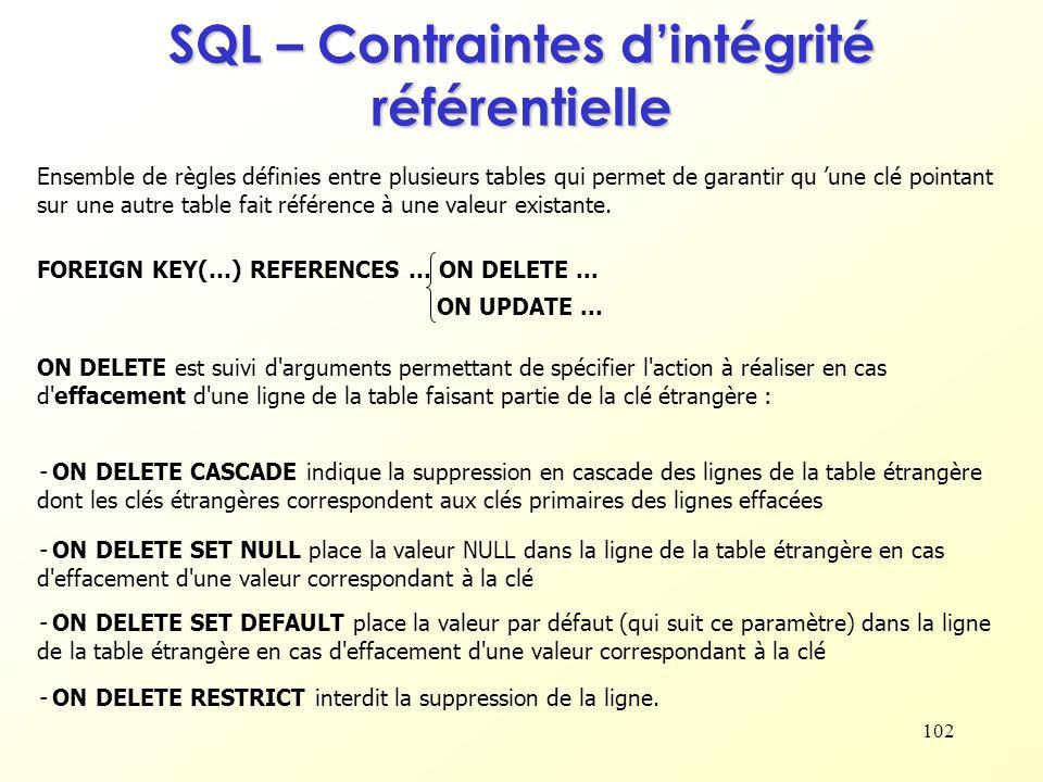102 SQL – Contraintes dintégrité référentielle Ensemble de règles définies entre plusieurs tables qui permet de garantir qu une clé pointant sur une a