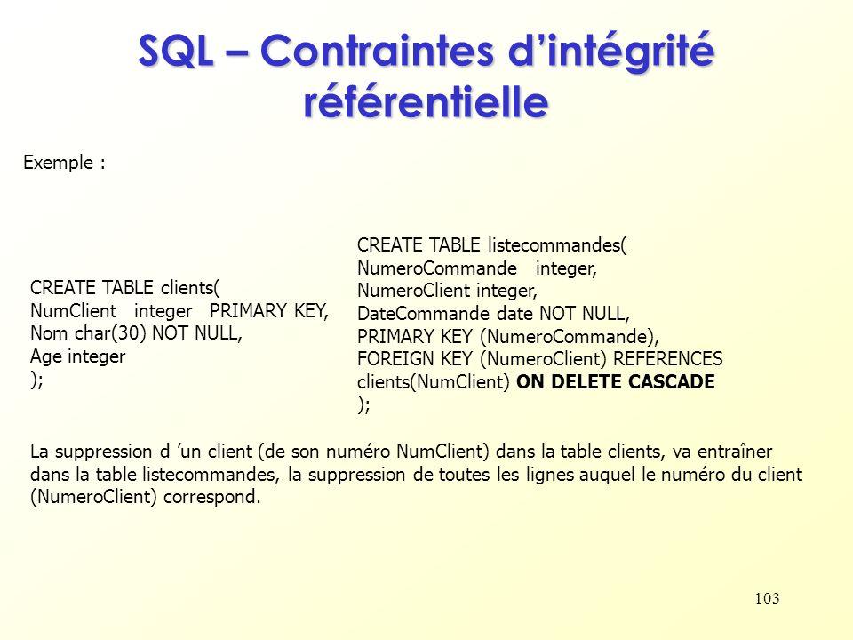 103 Exemple : La suppression d un client (de son numéro NumClient) dans la table clients, va entraîner dans la table listecommandes, la suppression de