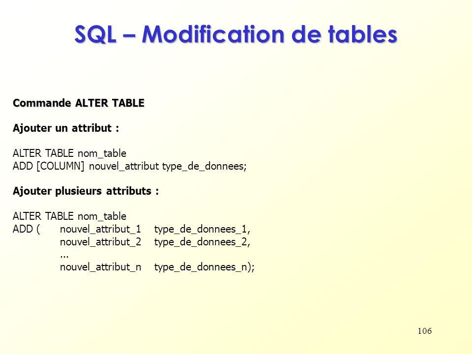 106 SQL – Modification de tables Ajouter un attribut : ALTER TABLE nom_table ADD [COLUMN] nouvel_attribut type_de_donnees; Ajouter plusieurs attributs