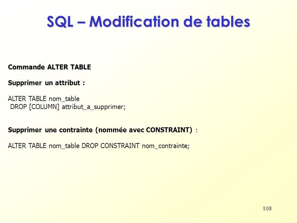 108 SQL – Modification de tables Supprimer un attribut : ALTER TABLE nom_table DROP [COLUMN] attribut_a_supprimer; Commande ALTER TABLE Supprimer une