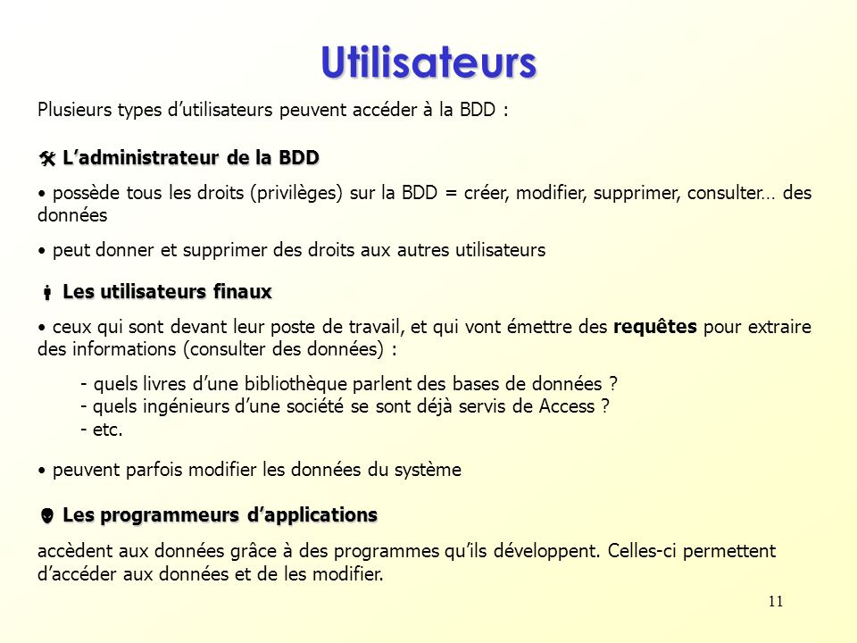 11 Plusieurs types dutilisateurs peuvent accéder à la BDD : Ladministrateur de la BDD Ladministrateur de la BDD possède tous les droits (privilèges) s