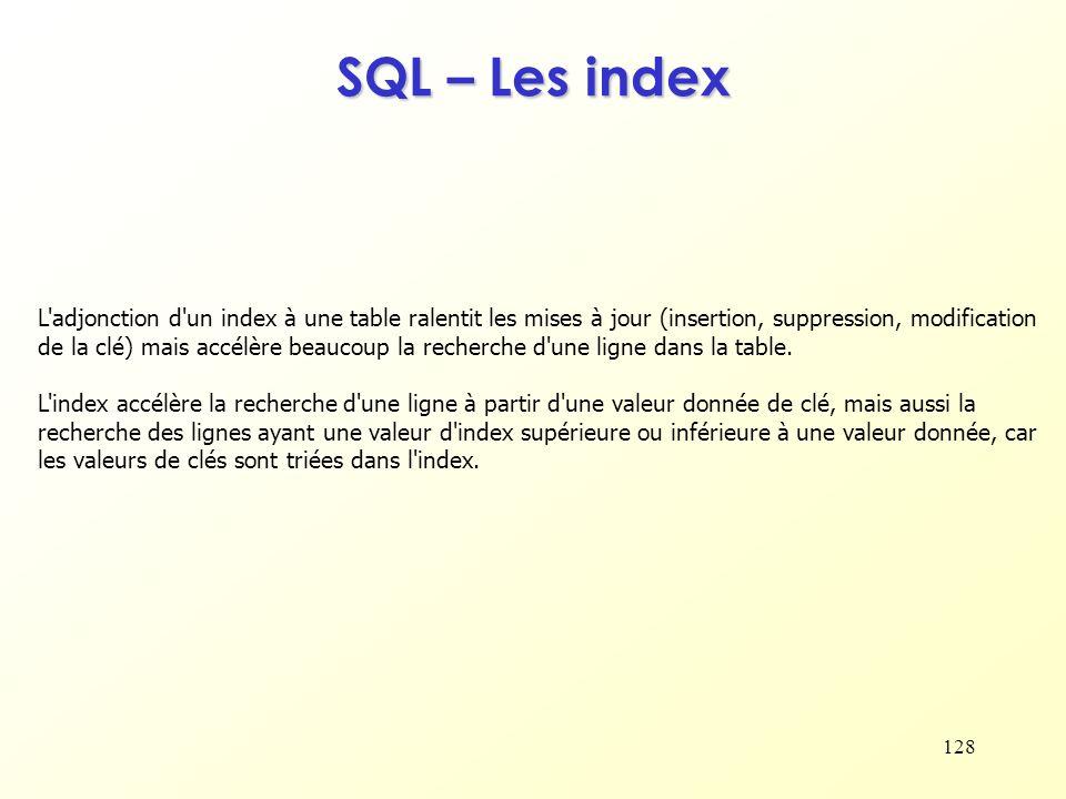 128 SQL – Les index L'adjonction d'un index à une table ralentit les mises à jour (insertion, suppression, modification de la clé) mais accélère beauc