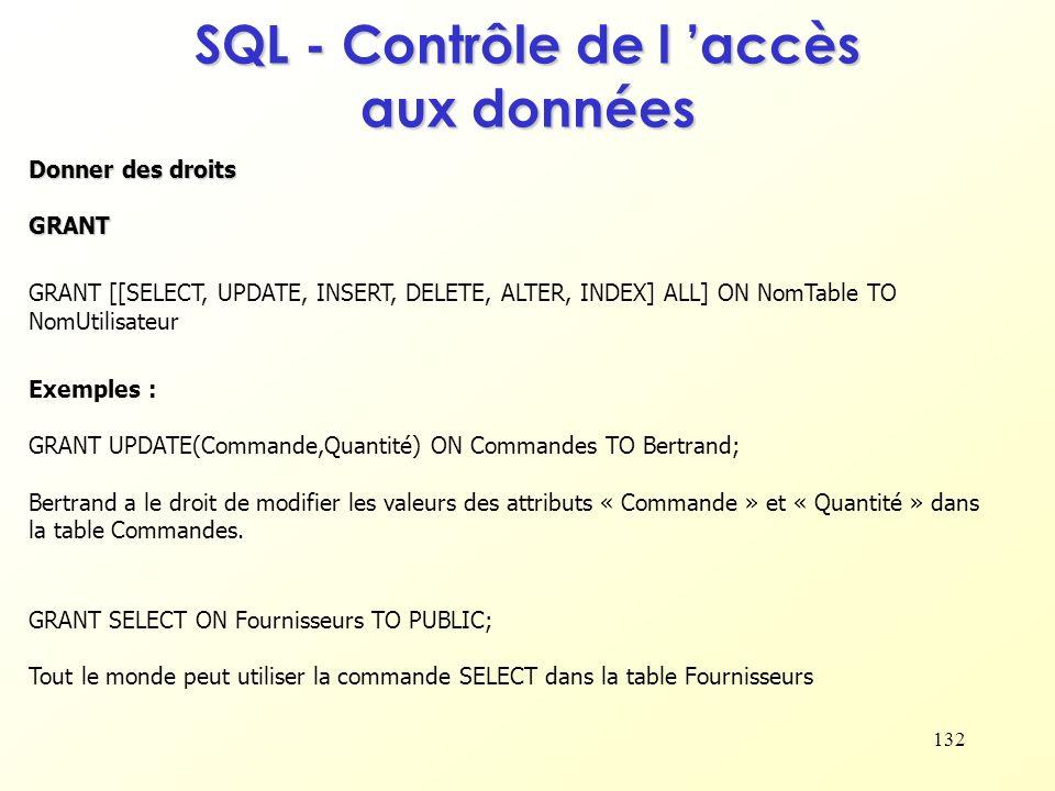 132 SQL - Contrôle de l accès aux données Donner des droits GRANT GRANT [[SELECT, UPDATE, INSERT, DELETE, ALTER, INDEX] ALL] ON NomTable TO NomUtilisa