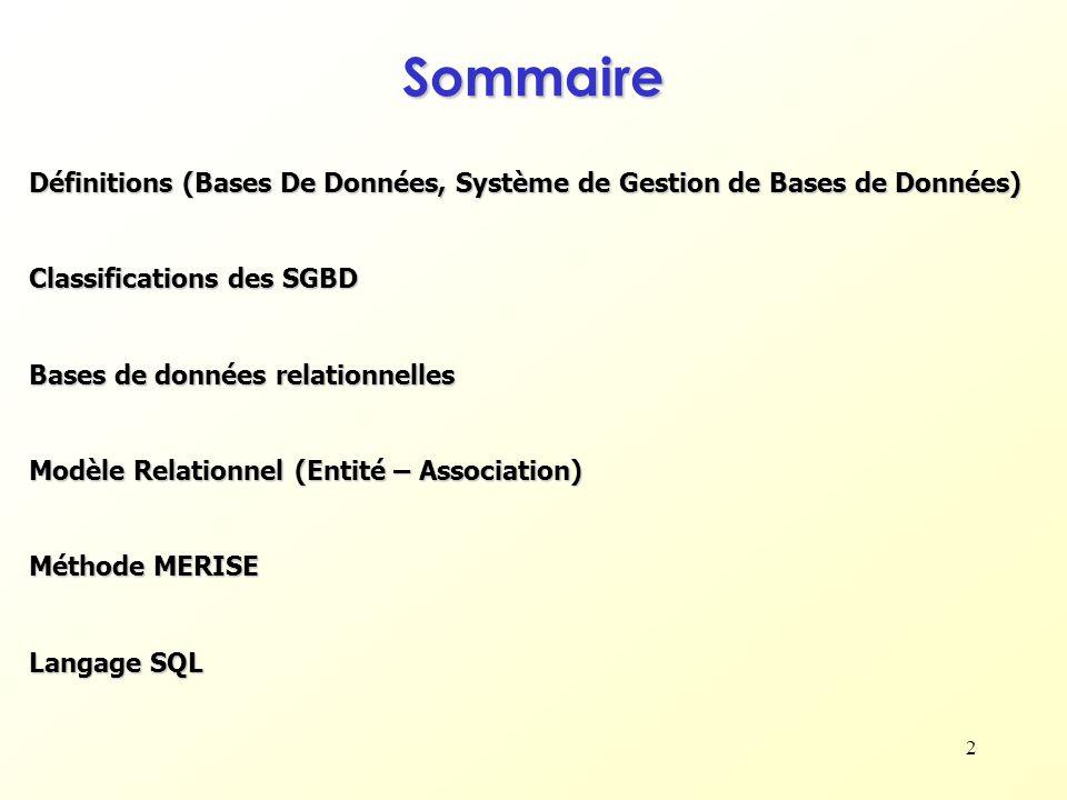 2 Sommaire Définitions (Bases De Données, Système de Gestion de Bases de Données) Classifications des SGBD Bases de données relationnelles Modèle Rela