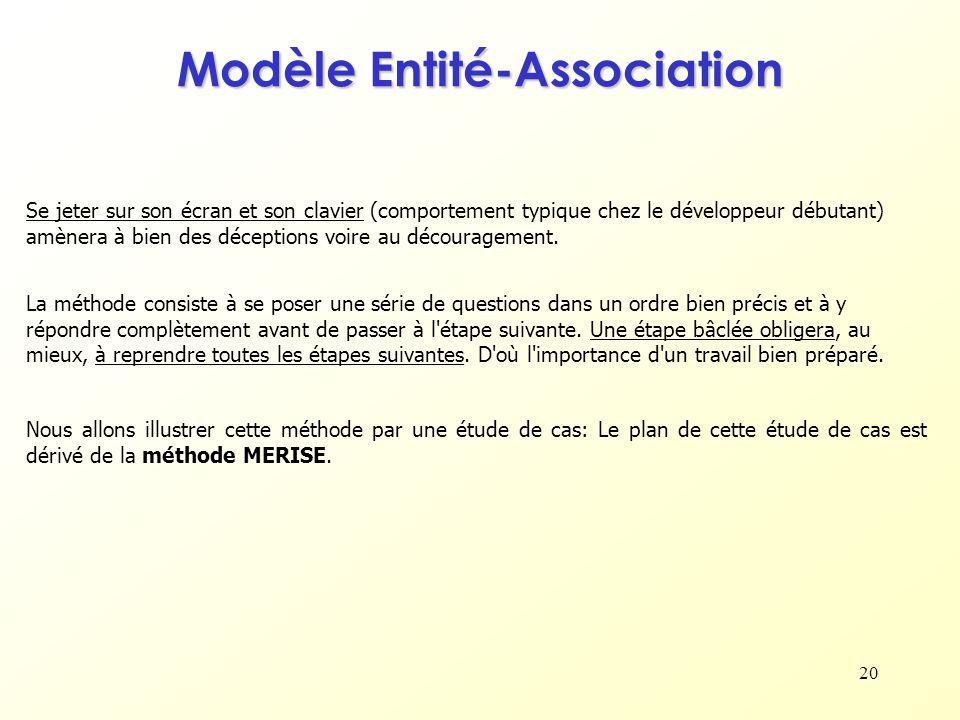 20 Nous allons illustrer cette méthode par une étude de cas: Le plan de cette étude de cas est dérivé de la méthode MERISE. Modèle Entité-Association