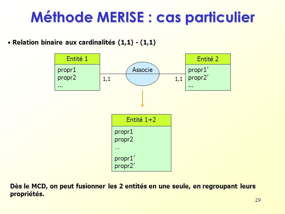 29 Méthode MERISE : cas particulier Relation binaire aux cardinalités (1,1) - (1,1) Dès le MCD, on peut fusionner les 2 entités en une seule, en regro