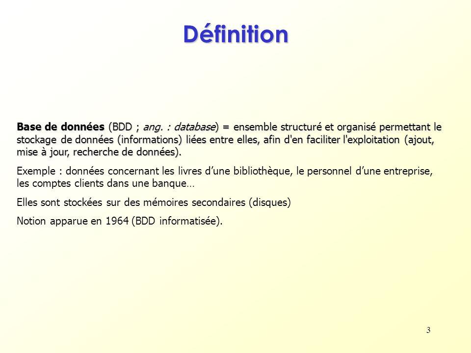 3 Définition Base de données (BDD ; ang. : database) = ensemble structuré et organisé permettant le stockage de données (informations) liées entre ell