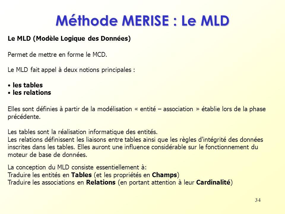 34 Le MLD (Modèle Logique des Données) Permet de mettre en forme le MCD. Le MLD fait appel à deux notions principales : les tables les relations Métho