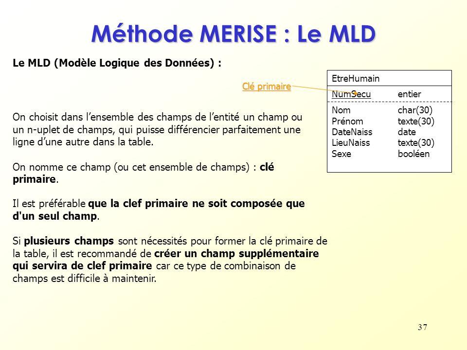 37 Le MLD (Modèle Logique des Données) : On choisit dans lensemble des champs de lentité un champ ou un n-uplet de champs, qui puisse différencier par