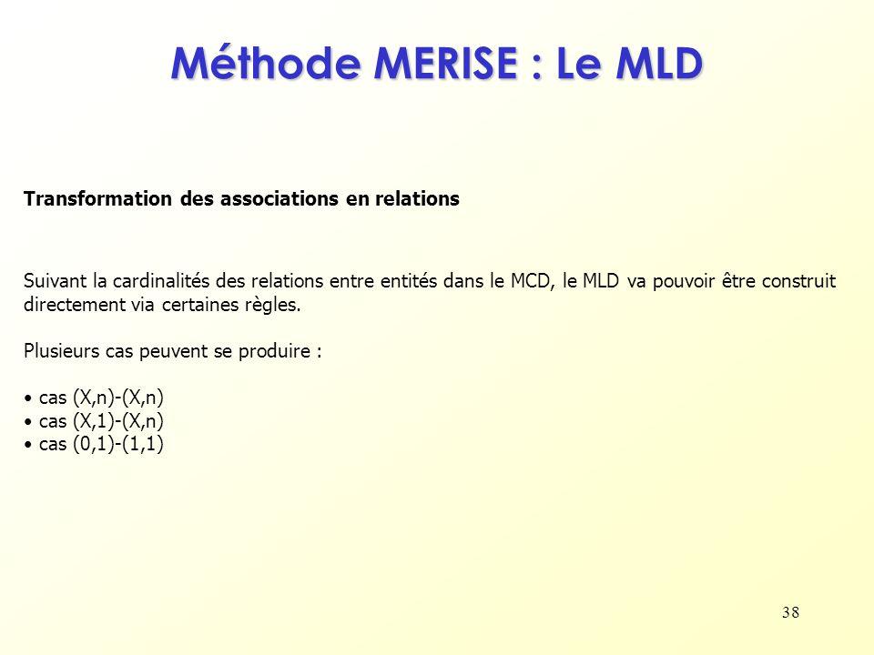 38 Transformation des associations en relations Méthode MERISE : Le MLD Suivant la cardinalités des relations entre entités dans le MCD, le MLD va pou