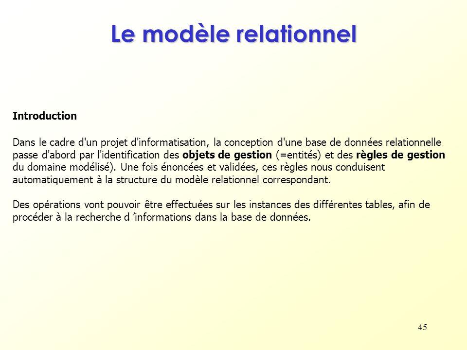 45 Introduction Le modèle relationnel Dans le cadre d'un projet d'informatisation, la conception d'une base de données relationnelle passe d'abord par