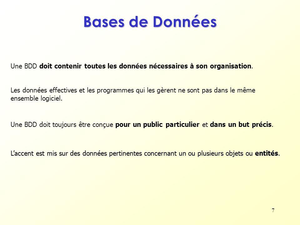 7 Bases de Données Une BDD doit contenir toutes les données nécessaires à son organisation. Les données effectives et les programmes qui les gèrent ne