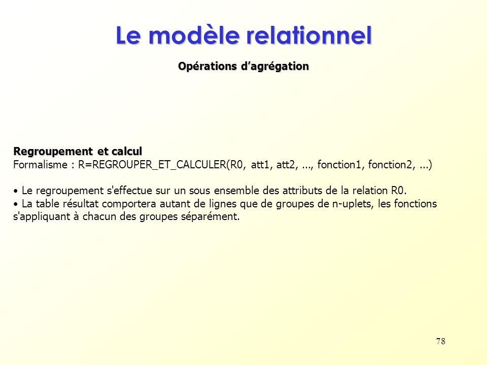 78 Opérations dagrégation Le modèle relationnel Regroupement et calcul Formalisme : R=REGROUPER_ET_CALCULER(R0, att1, att2,..., fonction1, fonction2,.