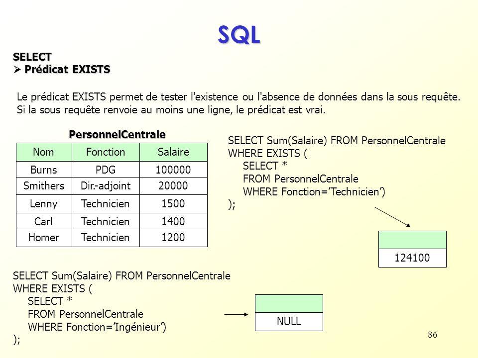86 SQL SELECT Prédicat EXISTS Prédicat EXISTS Le prédicat EXISTS permet de tester l'existence ou l'absence de données dans la sous requête. Si la sous