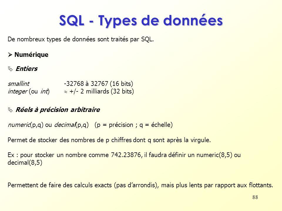 88 SQL - Types de données De nombreux types de données sont traités par SQL. Entiers smallint-32768 à 32767 (16 bits) integer (ou int) +/- 2 milliards
