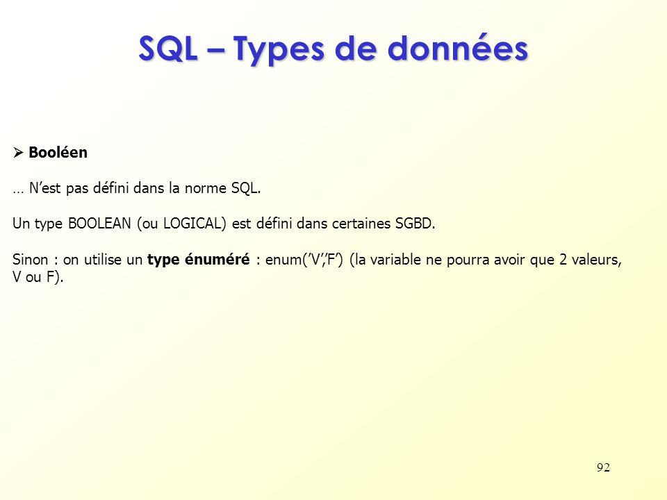 92 SQL – Types de données Booléen … Nest pas défini dans la norme SQL. Un type BOOLEAN (ou LOGICAL) est défini dans certaines SGBD. Sinon : on utilise