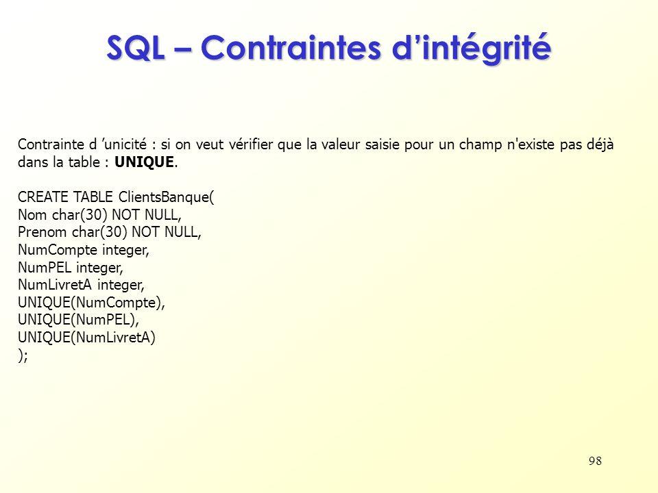98 SQL – Contraintes dintégrité Contrainte d unicité : si on veut vérifier que la valeur saisie pour un champ n'existe pas déjà dans la table : UNIQUE