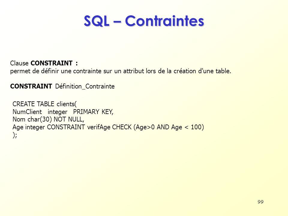 99 SQL – Contraintes Clause CONSTRAINT : permet de définir une contrainte sur un attribut lors de la création d'une table. CONSTRAINT Définition_Contr