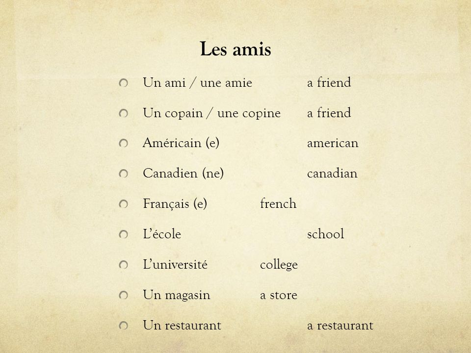 Les amis Un ami / une amiea friend Un copain / une copinea friend Américain (e)american Canadien (ne)canadian Français (e)french Lécoleschool Lunivers