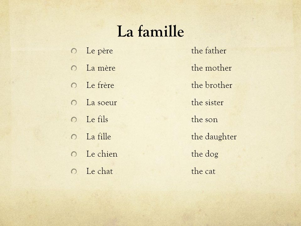 La famille Le pèrethe father La mèrethe mother Le frèrethe brother La soeurthe sister Le filsthe son La fillethe daughter Le chienthe dog Le chatthe c
