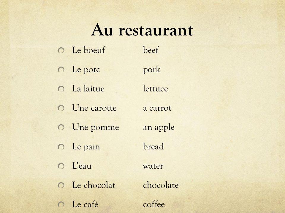 Au restaurant Le boeufbeef Le porcpork La laituelettuce Une carottea carrot Une pommean apple Le painbread Leauwater Le chocolatchocolate Le cafécoffee