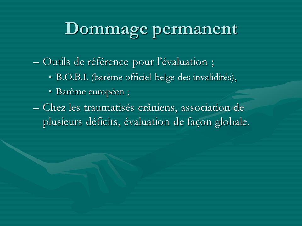 Dommage permanent –Outils de référence pour lévaluation ; B.O.B.I. (barème officiel belge des invalidités),B.O.B.I. (barème officiel belge des invalid
