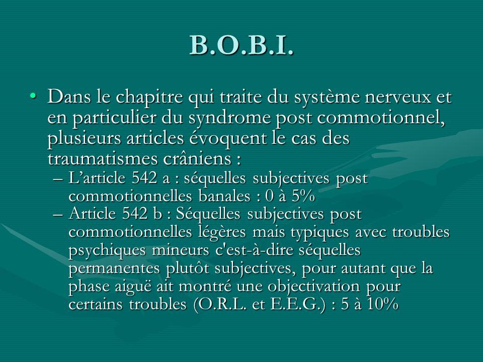 B.O.B.I. Dans le chapitre qui traite du système nerveux et en particulier du syndrome post commotionnel, plusieurs articles évoquent le cas des trauma