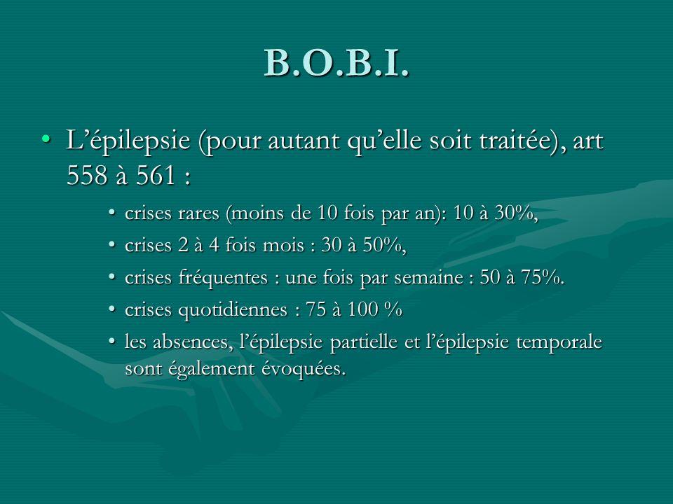 B.O.B.I. Lépilepsie (pour autant quelle soit traitée), art 558 à 561 :Lépilepsie (pour autant quelle soit traitée), art 558 à 561 : crises rares (moin