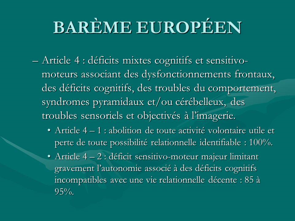 BARÈME EUROPÉEN –Article 4 : déficits mixtes cognitifs et sensitivo- moteurs associant des dysfonctionnements frontaux, des déficits cognitifs, des tr