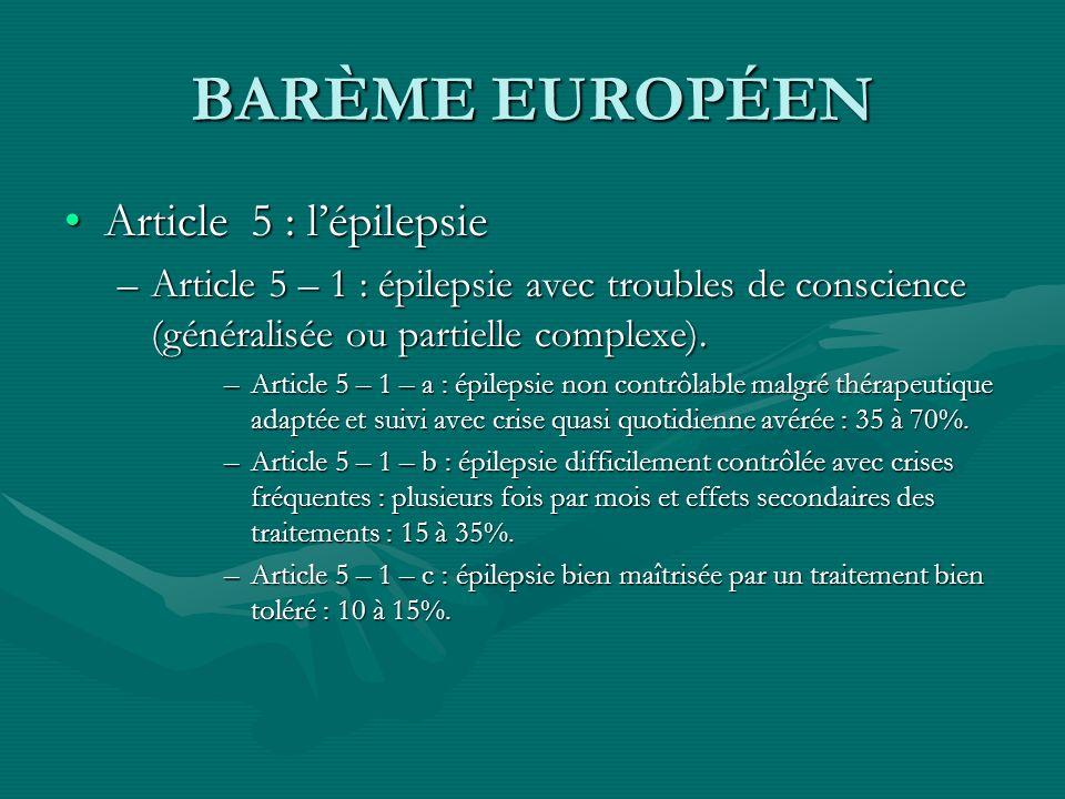 BARÈME EUROPÉEN Article 5 : lépilepsieArticle 5 : lépilepsie –Article 5 – 1 : épilepsie avec troubles de conscience (généralisée ou partielle complexe