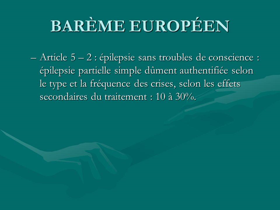 BARÈME EUROPÉEN –Article 5 – 2 : épilepsie sans troubles de conscience : épilepsie partielle simple dûment authentifiée selon le type et la fréquence