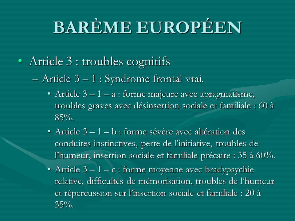 BARÈME EUROPÉEN Article 3 : troubles cognitifsArticle 3 : troubles cognitifs –Article 3 – 1 : Syndrome frontal vrai. Article 3 – 1 – a : forme majeure