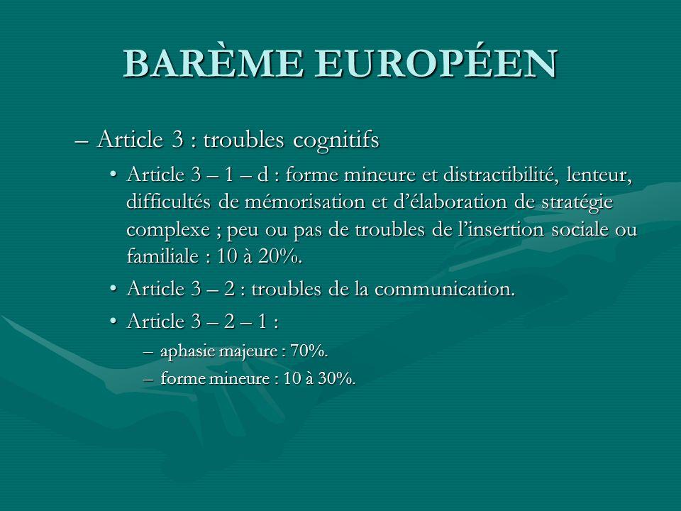 BARÈME EUROPÉEN –Article 3 : troubles cognitifs Article 3 – 1 – d : forme mineure et distractibilité, lenteur, difficultés de mémorisation et délabora