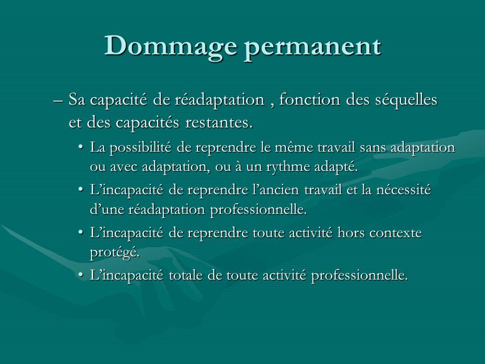 Dommage permanent –Sa capacité de réadaptation, fonction des séquelles et des capacités restantes. La possibilité de reprendre le même travail sans ad