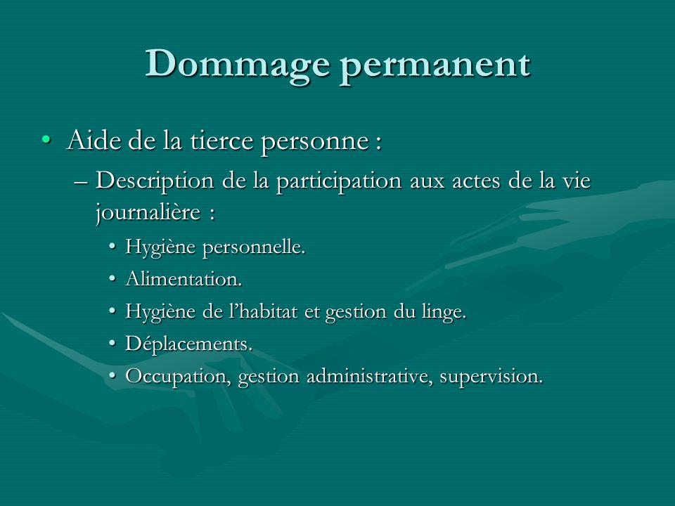 Dommage permanent Aide de la tierce personne :Aide de la tierce personne : –Description de la participation aux actes de la vie journalière : Hygiène