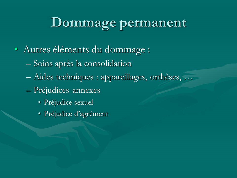 Dommage permanent Autres éléments du dommage :Autres éléments du dommage : –Soins après la consolidation –Aides techniques : appareillages, orthèses,