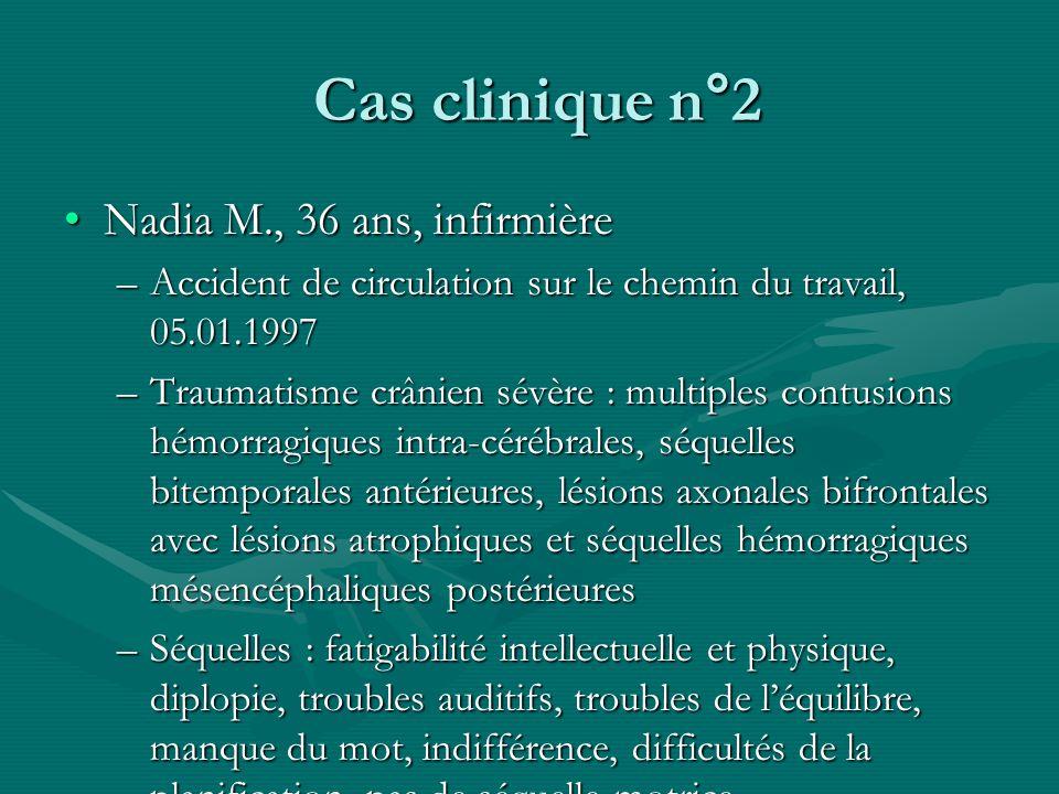 Cas clinique n°2 Cas clinique n°2 Nadia M., 36 ans, infirmièreNadia M., 36 ans, infirmière –Accident de circulation sur le chemin du travail, 05.01.19