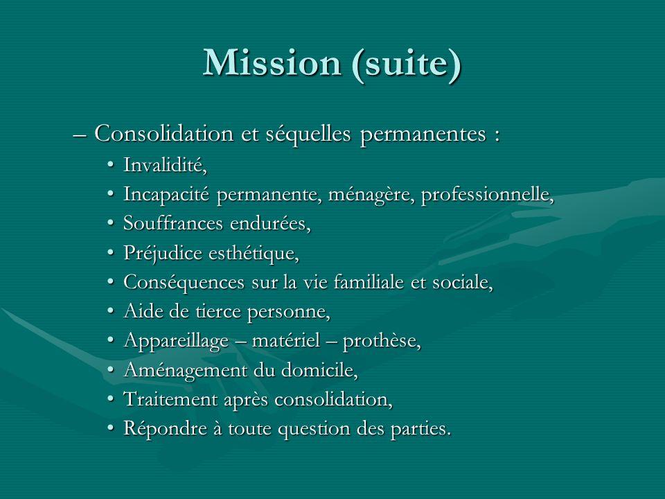 Mission (suite) –Consolidation et séquelles permanentes : Invalidité,Invalidité, Incapacité permanente, ménagère, professionnelle,Incapacité permanent