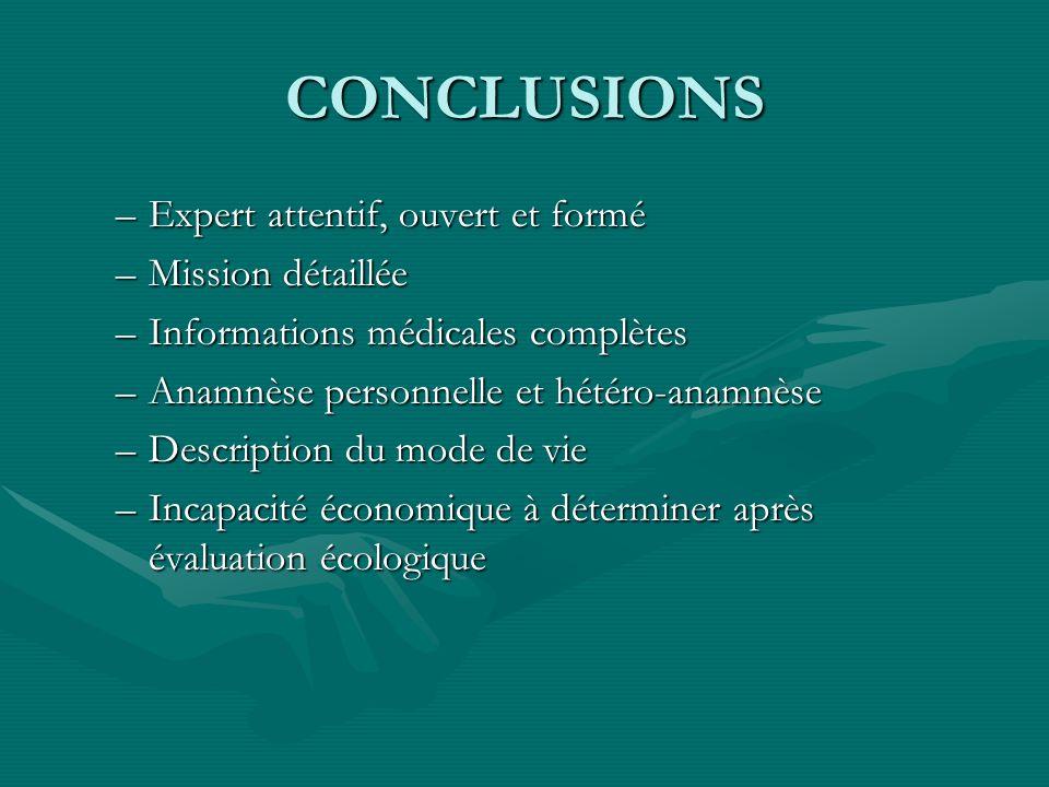 CONCLUSIONS –Expert attentif, ouvert et formé –Mission détaillée –Informations médicales complètes –Anamnèse personnelle et hétéro-anamnèse –Descripti
