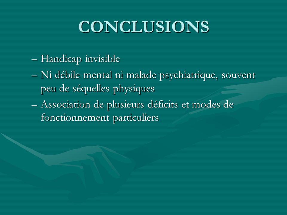 CONCLUSIONS –Handicap invisible –Ni débile mental ni malade psychiatrique, souvent peu de séquelles physiques –Association de plusieurs déficits et mo