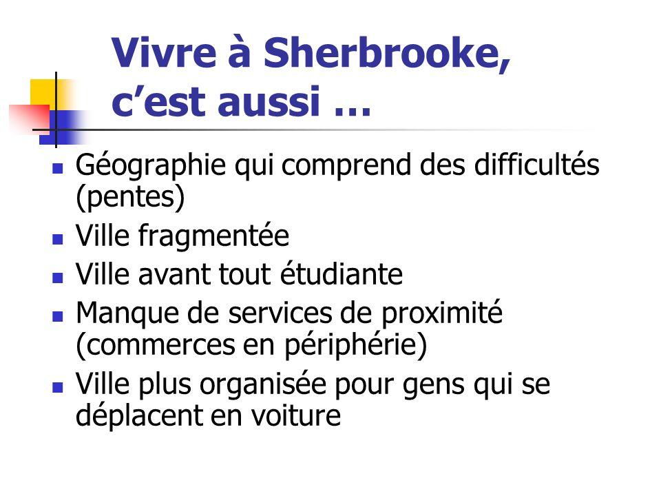 Vivre à Sherbrooke, cest aussi … Géographie qui comprend des difficultés (pentes) Ville fragmentée Ville avant tout étudiante Manque de services de proximité (commerces en périphérie) Ville plus organisée pour gens qui se déplacent en voiture