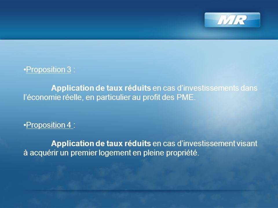 Proposition 3 : Application de taux réduits en cas dinvestissements dans léconomie réelle, en particulier au profit des PME. Proposition 4 : Applicati
