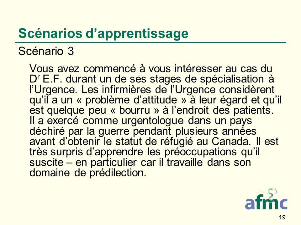 19 Scénarios dapprentissage Scénario 3 Vous avez commencé à vous intéresser au cas du D r E.F. durant un de ses stages de spécialisation à lUrgence. L