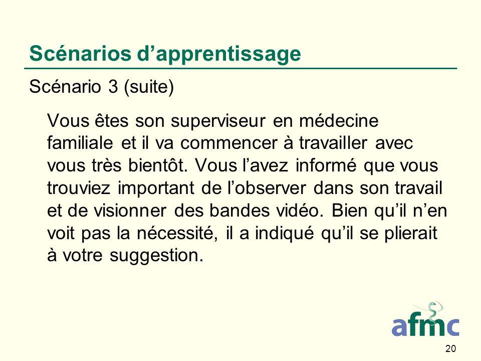 20 Scénarios dapprentissage Scénario 3 (suite) Vous êtes son superviseur en médecine familiale et il va commencer à travailler avec vous très bientôt.